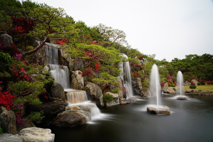 Azalea Flower Garden Fountains by ajs1980518 on Pixabay