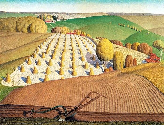 Grant Wood Fall Plowing via Wikimedia Commons